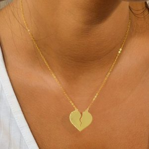 Etched Necklace, Heart Shaped Etched Necklace