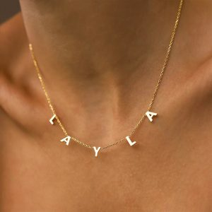 Dangle Name Necklace, 18k Gold Plated Letter Necklace, 18K Letter Necklace