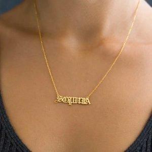 gothic style name pendant